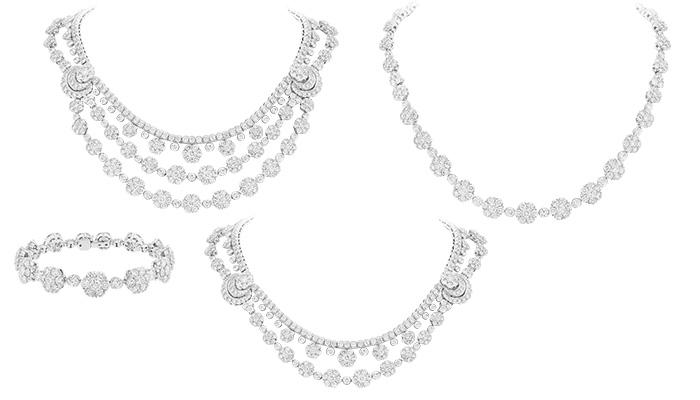 b83d9185e3380 تماشياً مع تقليد الدار بتقديم مجوهرات قابلة للتحوّل، يمكن ارتداء هذا العقد  في تسعة أشكال مختلفة، وذلك لأنّه مزوّد بمشابك خفيّة تسمح بفكّ العقد لتشكيل  ثلاثة ...